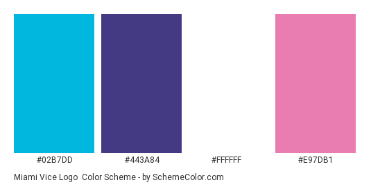 Miami Vice Logo - Color scheme palette thumbnail - #02b7dd #443a84 #ffffff #e97db1