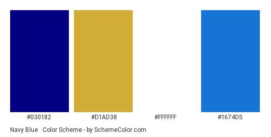 Navy Blue & White - Color scheme palette thumbnail - #030182 #d1ad38 #ffffff #1674d5