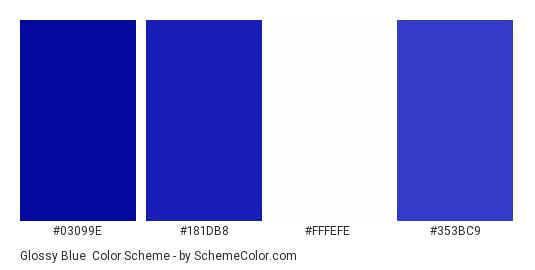 Glossy Blue - Color scheme palette thumbnail - #03099e #181db8 #fffefe #353bc9