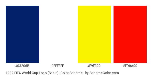 1982 FIFA World Cup Logo (Spain) - Color scheme palette thumbnail - #03206b #ffffff #f9f300 #fd0a00