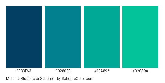 Metallic Blue Color Scheme Palette Thumbnail 033f63 028090 00a896 02c39a