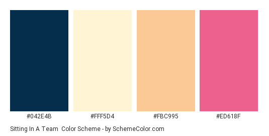 Sitting in a Team - Color scheme palette thumbnail - #042E4B #FFF5D4 #FBC995 #ED618F