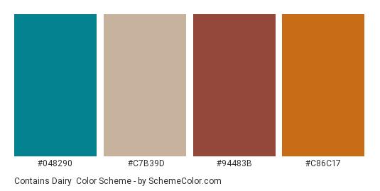 Contains Dairy - Color scheme palette thumbnail - #048290 #C7B39D #94483B #C86C17