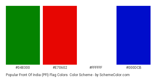 Popular Front of India (PFI) Flag Colors - Color scheme palette thumbnail - #048300 #e70602 #ffffff #000dcb
