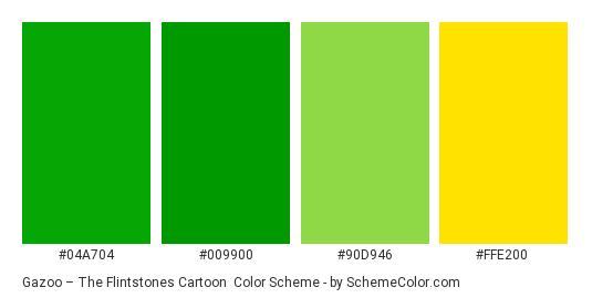 Gazoo – The Flintstones Cartoon - Color scheme palette thumbnail - #04a704 #009900 #90d946 #ffe200
