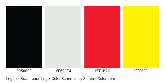 Logan's Roadhouse Logo - Color scheme palette thumbnail - #050809 #e5e9e4 #ee1b2c #fff303
