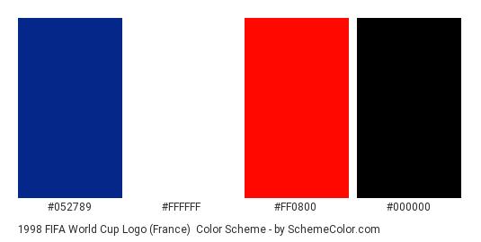 1998 FIFA World Cup Logo (France) - Color scheme palette thumbnail - #052789 #ffffff #ff0800 #000000