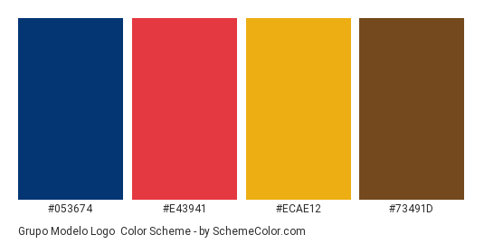 Grupo Modelo Logo - Color scheme palette thumbnail - #053674 #e43941 #ecae12 #73491d