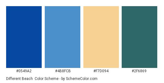 Different Beach - Color scheme palette thumbnail - #0549A2 #4B8FCB #F7D094 #2F6869