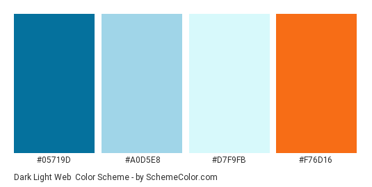 Dark light web - Color scheme palette thumbnail - #05719D #A0D5E8 #D7F9FB #F76D16