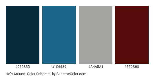 He's Around - Color scheme palette thumbnail - #062B3D #1C6689 #A4A5A1 #550B08