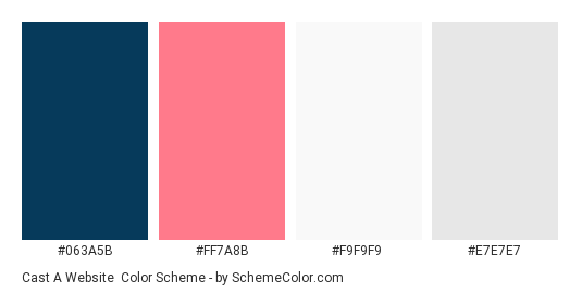 Cast a Website - Color scheme palette thumbnail - #063A5B #FF7A8B #F9F9F9 #E7E7E7
