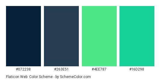 Flaticon Web - Color scheme palette thumbnail - #072238 #263e51 #4ee787 #16d298