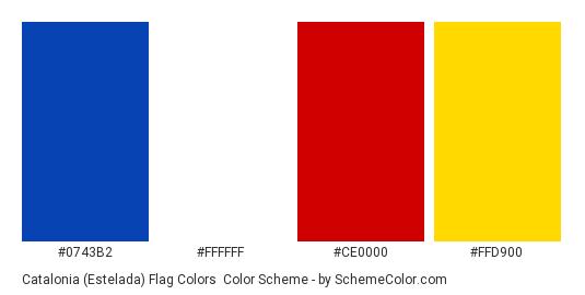 Catalonia (Estelada) Flag Colors - Color scheme palette thumbnail - #0743b2 #ffffff #ce0000 #ffd900