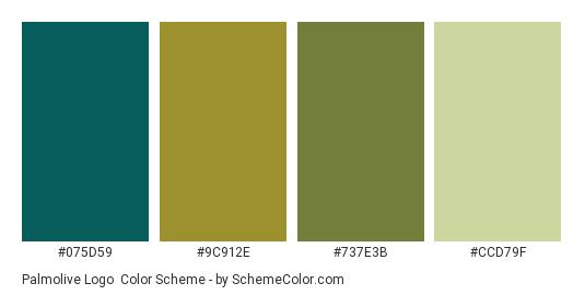 Palmolive Logo - Color scheme palette thumbnail - #075d59 #9c912e #737e3b #ccd79f