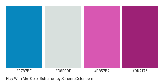 Play With Me - Color scheme palette thumbnail - #0787be #d8e0dd #d857b2 #9d2176