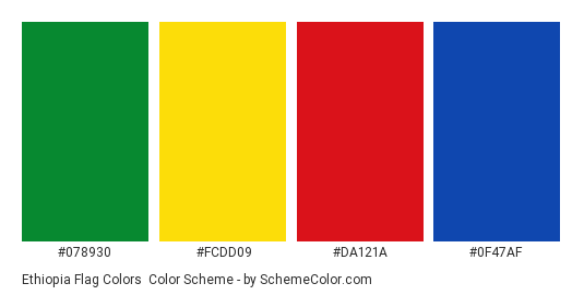 Ethiopia Flag Colors - Color scheme palette thumbnail - #078930 #fcdd09 #da121a #0f47af