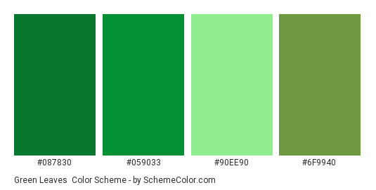 Green Leaves Color Scheme Palette Thumbnail 087830 059033 90ee90 6f9940