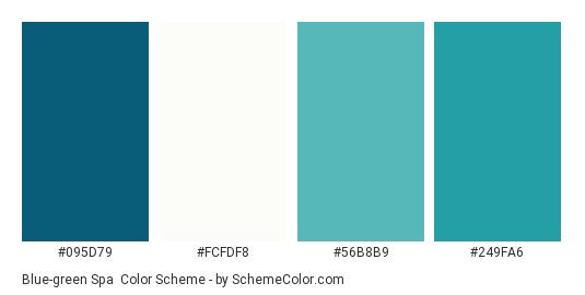 Blue-green Spa - Color scheme palette thumbnail - #095d79 #fcfdf8 #56b8b9 #249fa6