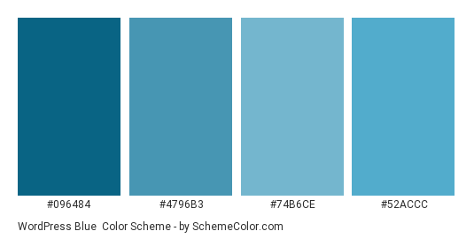 WordPress Blue - Color scheme palette thumbnail - #096484 #4796b3 #74b6ce #52accc