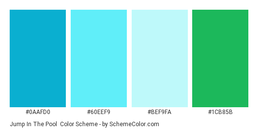 Jump in the Pool - Color scheme palette thumbnail - #0AAFD0 #60EEF9 #BEF9FA #1CB85B
