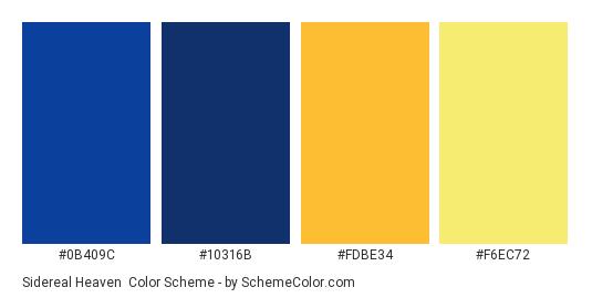 Sidereal Heaven - Color scheme palette thumbnail - #0B409C #10316B #FDBE34 #F6EC72