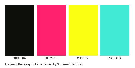 Frequent Buzzing - Color scheme palette thumbnail - #0C0F0A #FF206E #FBFF12 #41EAD4