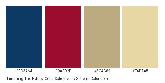 Trimming the Extras - Color scheme palette thumbnail - #0D3A64 #9A0D2F #BCAB80 #E6D7A5