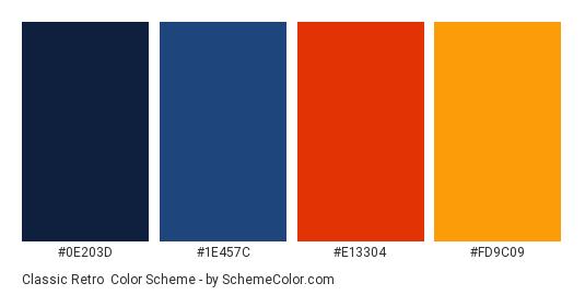 Classic Retro - Color scheme palette thumbnail - #0E203D #1E457C #E13304 #FD9C09