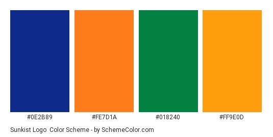 Sunkist Logo - Color scheme palette thumbnail - #0E2B89 #FE7D1A #018240 #FF9E0D
