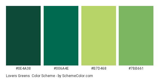Lovers Greens - Color scheme palette thumbnail - #0E4A38 #006A4E #B7D468 #7BB661