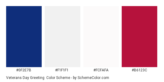 Veterans Day Greeting - Color scheme palette thumbnail - #0F2E7B #F1F1F1 #FCFAFA #B6123C