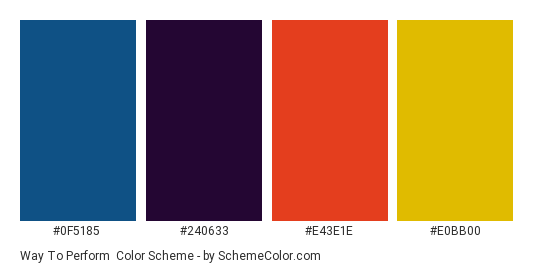 Way to Perform - Color scheme palette thumbnail - #0F5185 #240633 #E43E1E #E0BB00