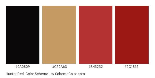Hunter Red Color Scheme Palette Thumbnail 0a0809 C59a63 B43232 9c1815