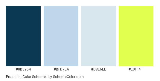 Prussian - Color scheme palette thumbnail - #0b3954 #bfd7ea #D8E6EE #e0ff4f