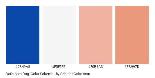Bathroom Rug - Color scheme palette thumbnail - #0b49a8 #f5f5f5 #f0b3a3 #eb997d
