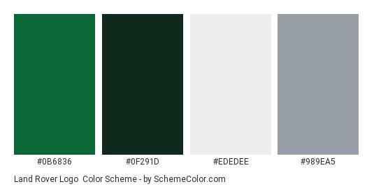 Land Rover Logo - Color scheme palette thumbnail - #0b6836 #0f291d #ededee #989ea5