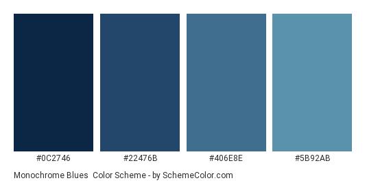 Monochrome Blues - Color scheme palette thumbnail - #0c2746 #22476b #406e8e #5b92ab