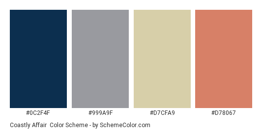 Coastly Affair - Color scheme palette thumbnail - #0c2f4f #999a9f #d7cfa9 #d78067