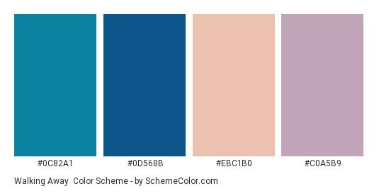 Walking Away - Color scheme palette thumbnail - #0c82a1 #0d568b #ebc1b0 #c0a5b9