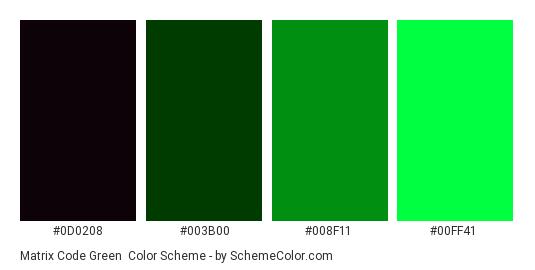 Matrix Code Green - Color scheme palette thumbnail - #0d0208 #003b00 #008f11 #00ff41