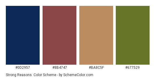Strong Reasons - Color scheme palette thumbnail - #0d2957 #8b4747 #ba8c5f #677529