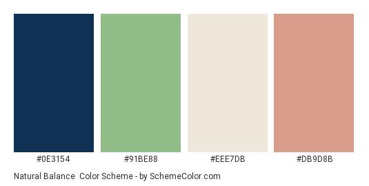 Natural Balance - Color scheme palette thumbnail - #0e3154 #91be88 #eee7db #db9d8b