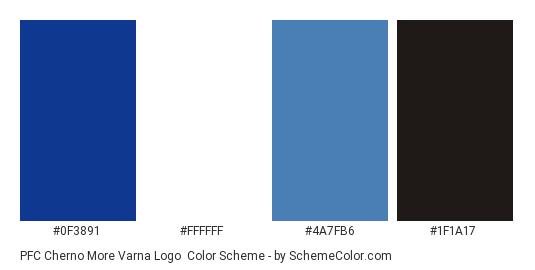 PFC Cherno More Varna Logo - Color scheme palette thumbnail - #0f3891 #ffffff #4a7fb6 #1f1a17