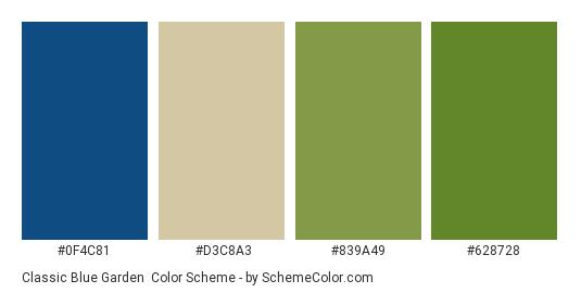 Classic Blue Garden - Color scheme palette thumbnail - #0f4c81 #d3c8a3 #839a49 #628728