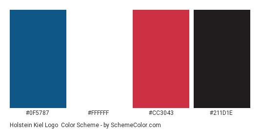 Holstein Kiel Logo - Color scheme palette thumbnail - #0f5787 #ffffff #cc3043 #211d1e