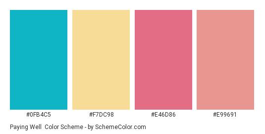 Paying Well - Color scheme palette thumbnail - #0fb4c5 #f7dc98 #e46d86 #e99691