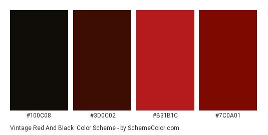 Vintage Red and Black - Color scheme palette thumbnail - #100C08 #3D0C02 #B31B1C #7C0A01