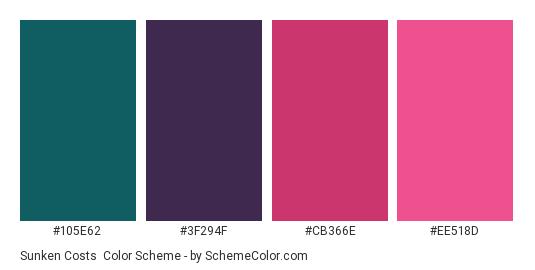 Sunken Costs - Color scheme palette thumbnail - #105E62 #3F294F #CB366E #EE518D