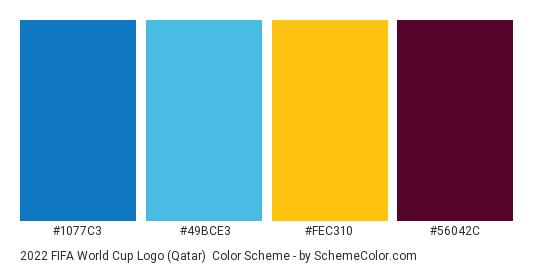 2022 FIFA World Cup Logo (Qatar) - Color scheme palette thumbnail - #1077c3 #49bce3 #fec310 #56042c